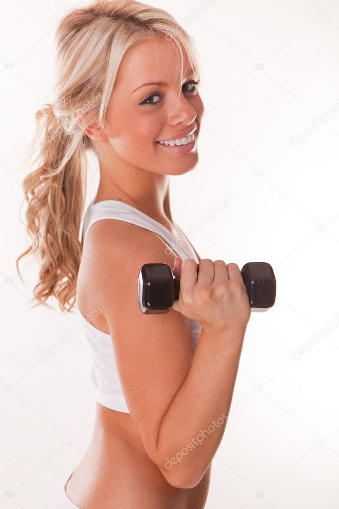 Smiling fitness beauty sexy woman exercising — Stock Photo #3746882
