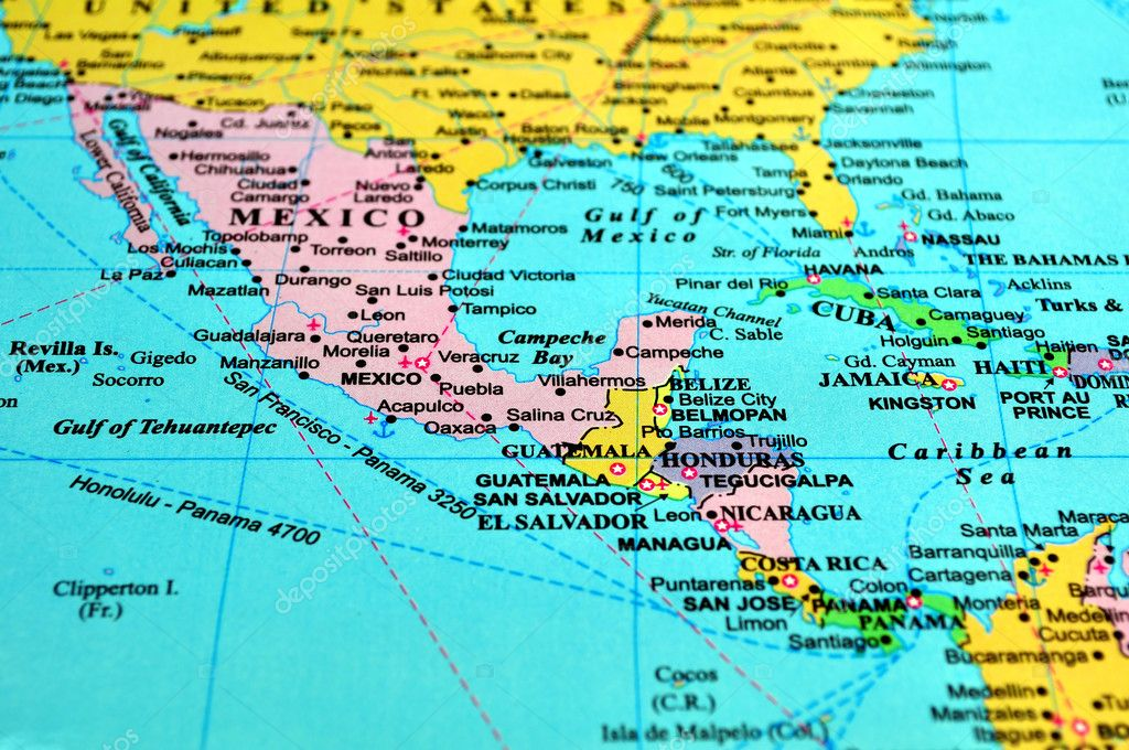 Central America map, includes names of many countries, cities and references. — ストック写真 #2986987