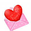 Red heart in pink envelope — Stock Photo