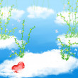 Cloud ,flower and heart — Foto Stock