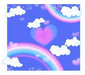 Rainbow and heart — Stock Photo