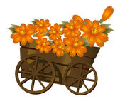 A wood trolley and flower — Stock Photo