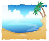 Nádherná pláž s palmami — Stock fotografie