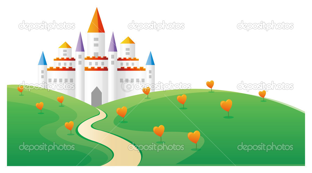 Castle in the top of hill with heart tree  Stock Photo #3009677