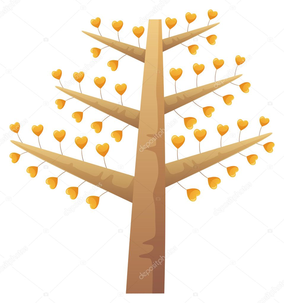 Illustration drawing of tree and red heart  Stock Photo #3164635