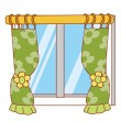 Window and curtain — Stock Photo