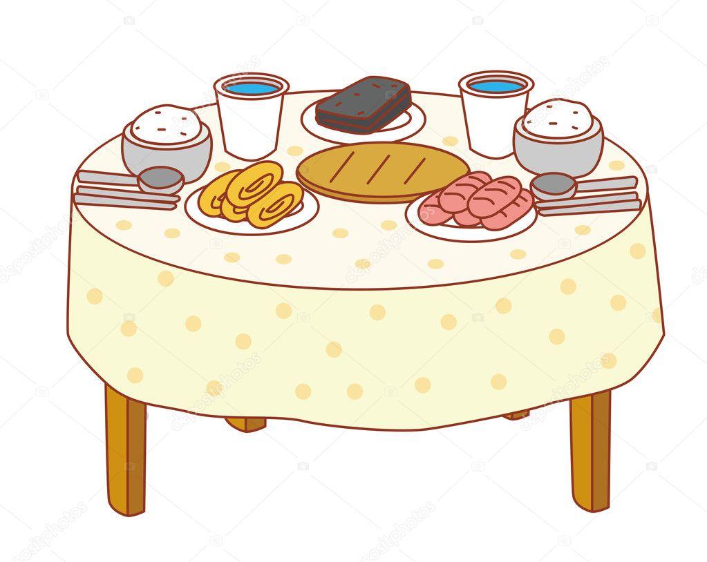 Стол с тарелками рисунок
