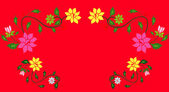 Flower pattern in a red background — Stock Photo
