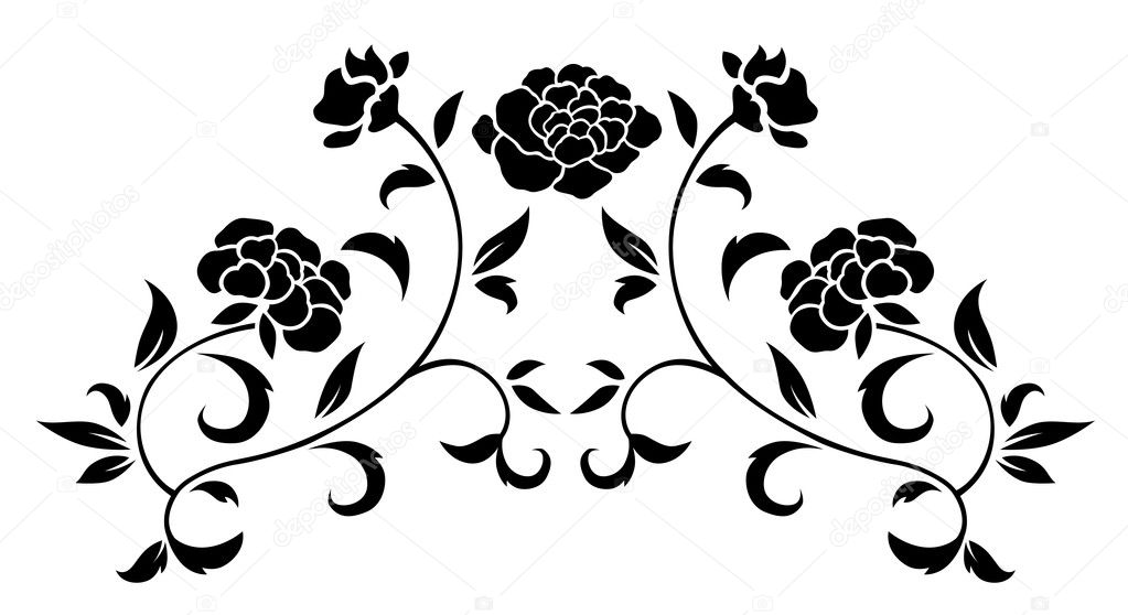 Drawing of black flower pattern  in a white background — Stock Photo #3452019