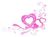 Pink heart with ribbon — Stock Photo
