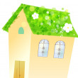 House and flower — Stock Photo