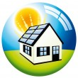 Solar power free energy home - Stock Vector