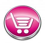 Rosa botão de carrinho de compras — Vetorial Stock