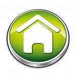 Green home button. — Stock Vector