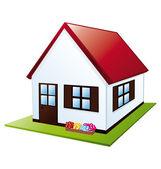 Litlle house with garden — Stock Vector