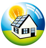 Solar power free energy home — Stock Vector