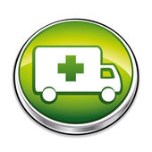 Green ambulance button — Stock Vector