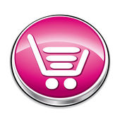 Pink shopping cart button — Stock Vector