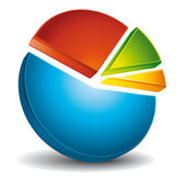 Colorful 3d circular diagram — Vector de stock