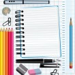 Stock Vector: School supplies background.