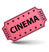 Pink cinema ticket. — Stock Vector