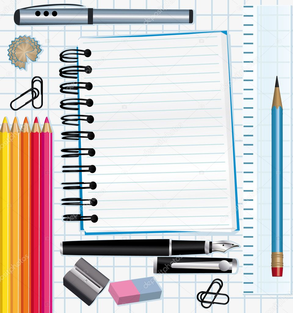 School supplies background.  — Imagen vectorial #3707389