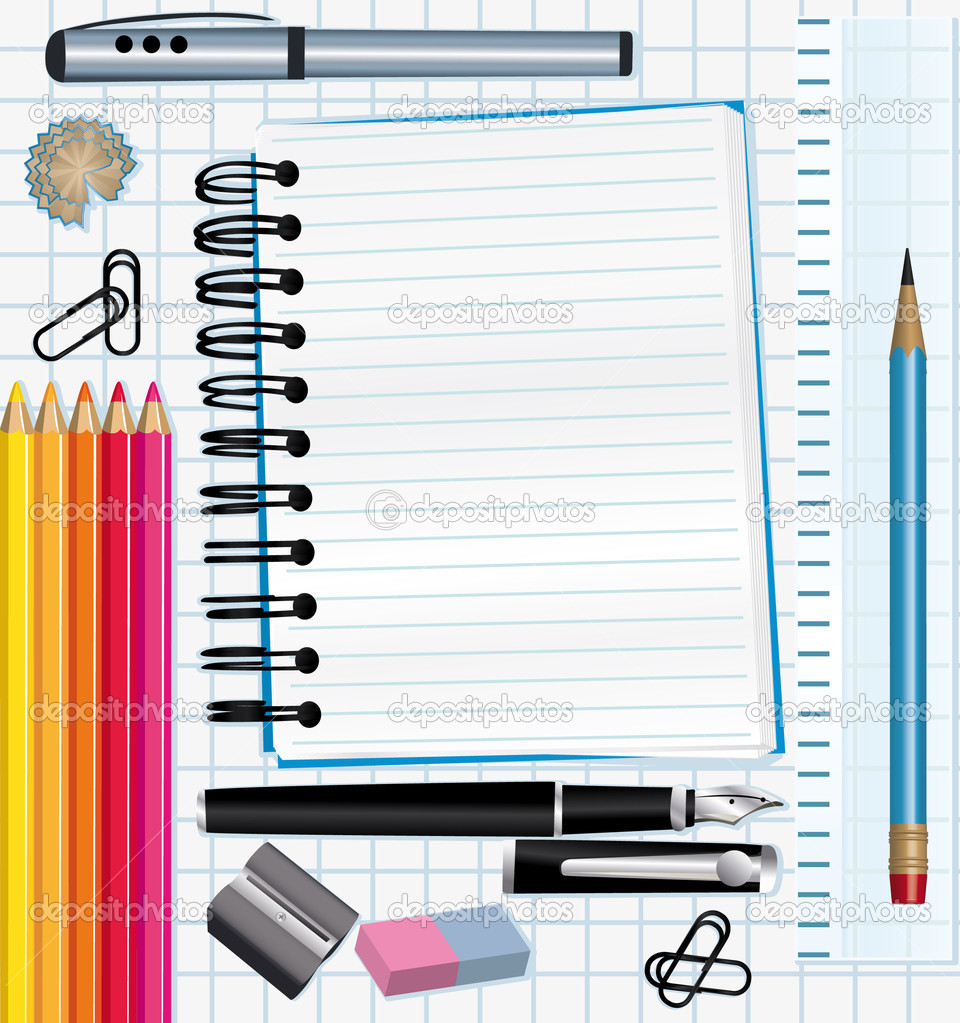 School supplies background.  — Vettoriali Stock  #3707389