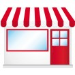 Cute shop icon with red awnings. — Stok Vektör