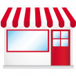 Cute shop icon with red awnings. - 