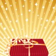 Red gift on a golden background. — Stock Vector