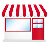 Cute shop icon with red awnings. — Stock Vector