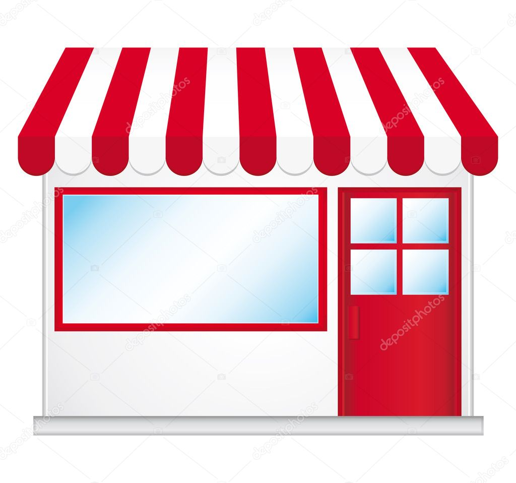 Cute shop icon with red awnings.   Stock Vector #3832800
