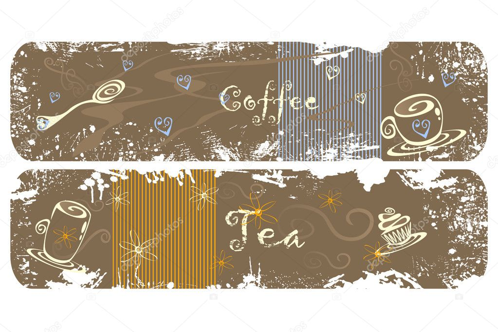 2 cute tea and coffee banners — Stock Vector #2850379
