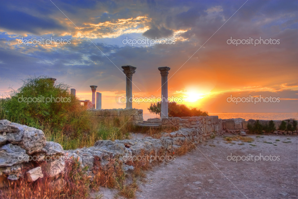 Ruins of Chersonese, Sevastopol, Crimea, Ukraine — Stock Photo #3445776