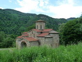 Ancient monastery in mountains Arhyz — Stock Photo
