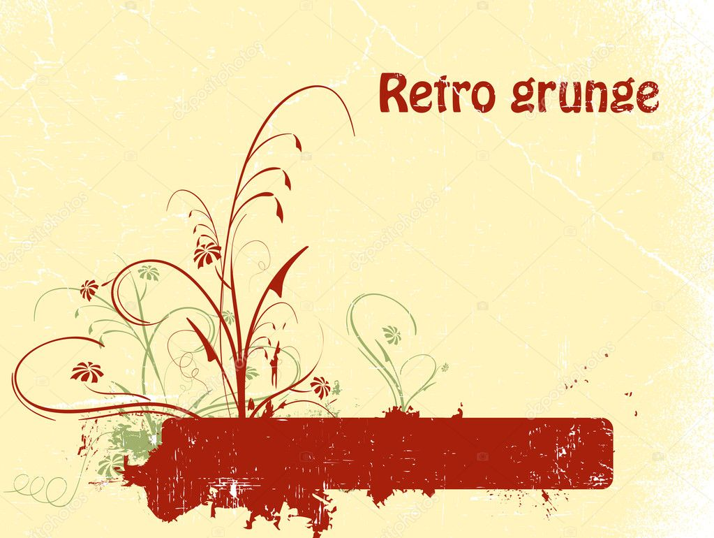 Floral grunge retro background with copy space  Stock Vector #2857962