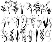 Collection of floral design elements — Cтоковый вектор