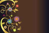 Brown background with colorful flowers — Vector de stock