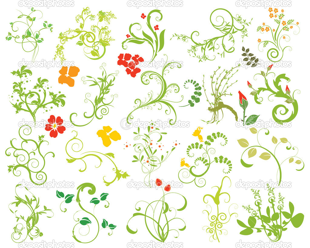 Collection of floral design elements. Easy to edit vector image.  Stockvectorbeeld #2867573