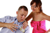Wife takes away money from husband — Stock Photo