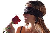 Ragazza con una rosa — Foto Stock