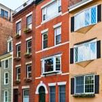 Row of brick houses in Boston — Stock Photo