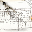 Home plan with drawing tools — Stock Photo