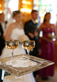 Champagne in two glasses — Stock Photo