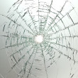 Broken car glass of windscreen - Stock Photo