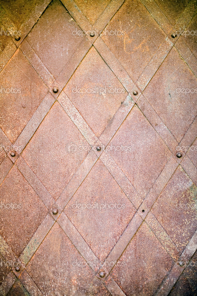 Rusty metal texture with lines and screwes — Stock Photo #2927306