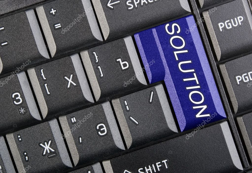 There is black keyboard with word solution — Stock Photo #2932568