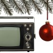 Christmas frame and old tv — Stock Photo