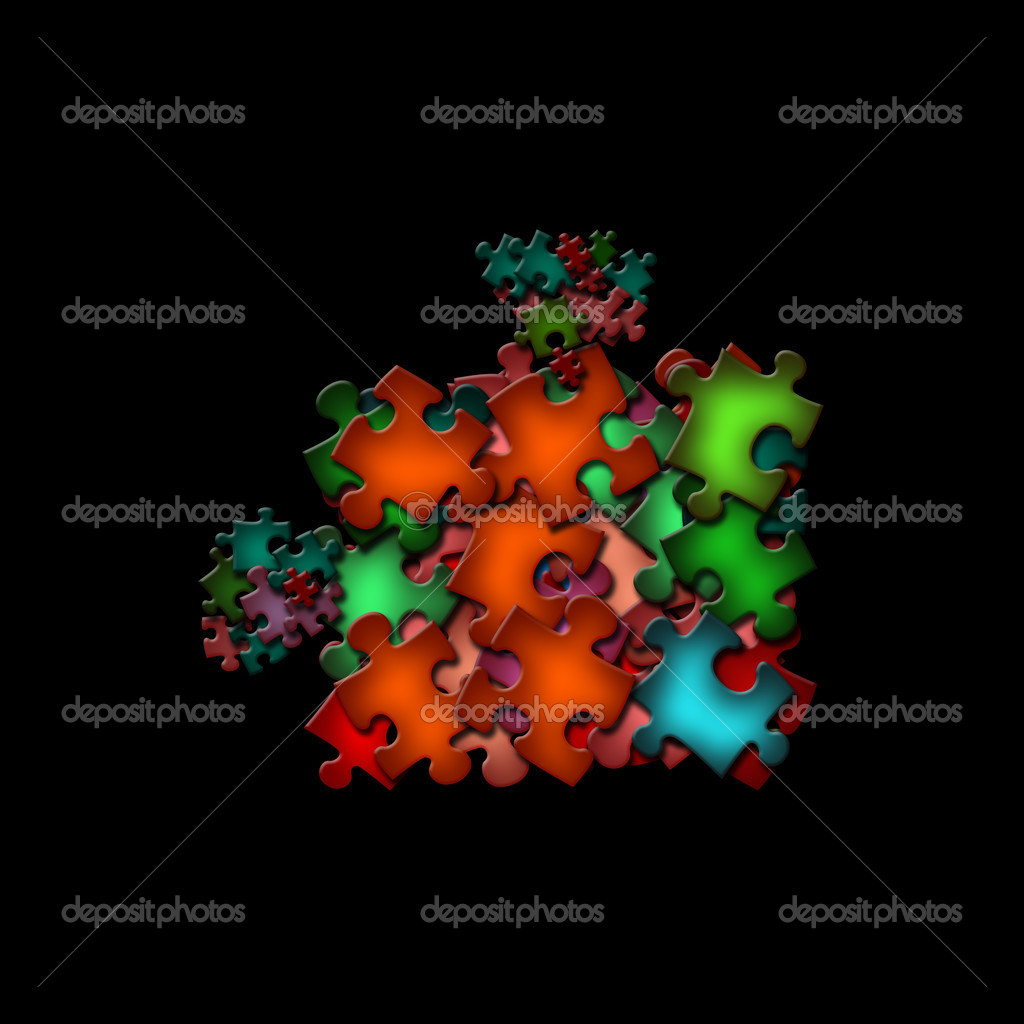 There is a abstract shape of colorful puzzle pieces — Stock Photo #2949201