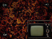 Old tv with grunge background — Stockfoto
